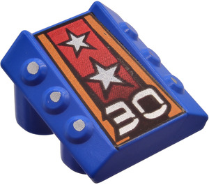 LEGO Blue Slope 1 x 2 x 2 with Flanges and Pistons with Decoration