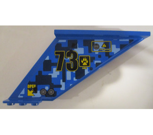 LEGO Blue Tail 12 x 2 x 5 with 73, Camo Pattern, and Claw (Left) Sticker