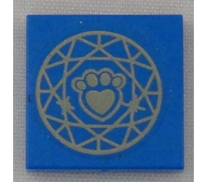 LEGO Blue Tile 2 x 2 with gold paw print Sticker with Groove