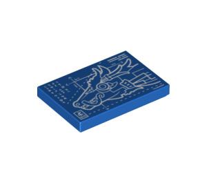 LEGO Blue Tile 2 x 3 with Mecha Dragon Blueprint (34569)