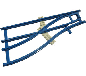LEGO Blue Train Track 4.5V Switch Point Left with White Sleepers