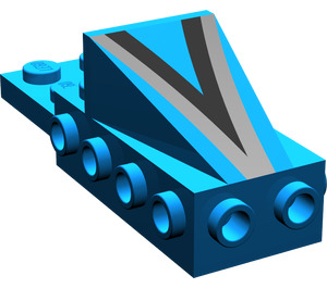 "LEGO Blue Wedge 2 x 3 with Brick 2 x 4 with Black/Silver ""V"""