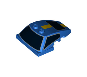 LEGO Blue Wedge 6 x 4 x 1.333 with 4 x 4 Base with Black Windows, Yellow Stripe (18513)