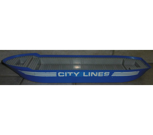 LEGO Boat Hull Floating 74 x 18 x 7 with White 'CITY LINE' and White Stripes (both sides) Sticker (57789)