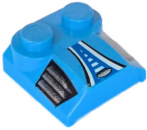 LEGO Bonnet 2 x 2 x 2/3 with Blue black and white Vents without Curved End (41855)