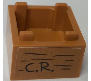 LEGO Box 2 x 2 Bottom with 'C.R' on front and 'Poohsticks' on back Sticker (59121)
