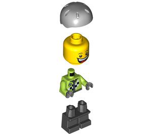 LEGO Boy with Lime Jacket, Short Black legs and Medium Stone Gray Helmet Minifigure