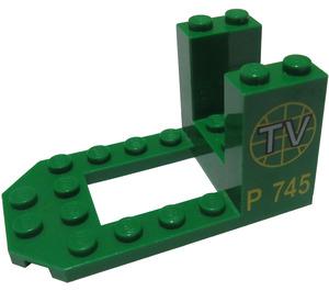 """LEGO Bracket 4 x 7 x 3 with Globe, """"TV"""" and """"P 745"""" (30250)"""
