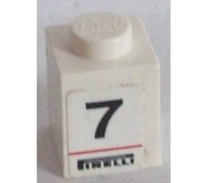 LEGO Brick 1 x 1 with 7 and Pirelli Sticker (3005)