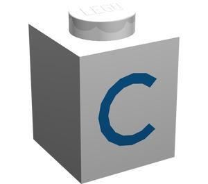 "LEGO Brick 1 x 1 with Blue ""C"" (3005)"