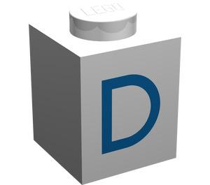 "LEGO Brick 1 x 1 with Blue ""D"" (3005)"