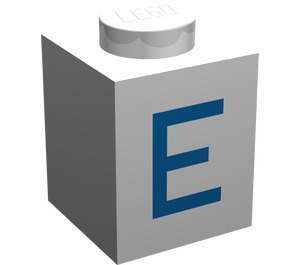 "LEGO Brick 1 x 1 with Blue ""E"" (3005)"