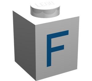 "LEGO Brick 1 x 1 with Blue ""F"" (3005)"