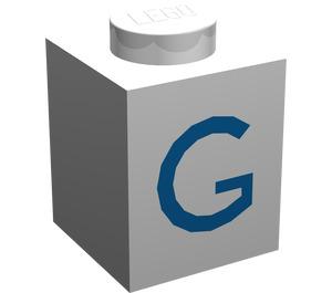 "LEGO Brick 1 x 1 with Blue ""G"" (3005)"