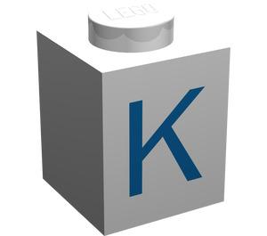 """LEGO Brick 1 x 1 with Blue """"K"""" (3005)"""