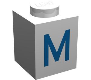 "LEGO Brick 1 x 1 with Blue ""M"" Decoration (3005)"