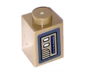 LEGO Brick 1 x 1 with Door opener Sticker (3005)