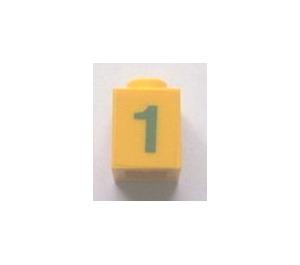 "LEGO Brick 1 x 1 with Green ""1"" Sticker (3005 / 30071)"