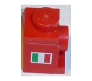 LEGO Brick 1 x 1 with Headlight with Italian Flag (both sides) Sticker from Set 8168 (4070) and No Slot (4070)