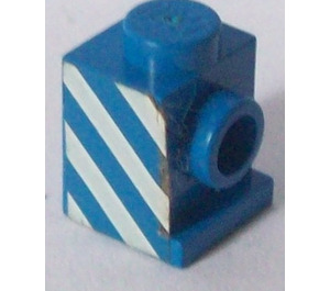 LEGO Brick 1 x 1 with Headlight with White Diagonal Stripes (Right) Sticker and No Slot (4070)