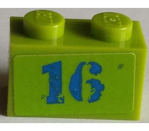 LEGO Brick 1 x 2 with '16' Sticker (3004)
