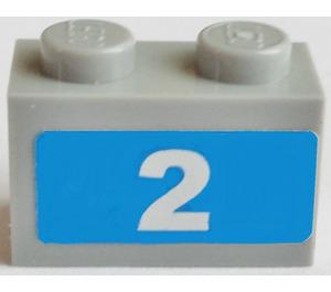 LEGO Brick 1 x 2 with '2', Blue Background Sticker (3004)