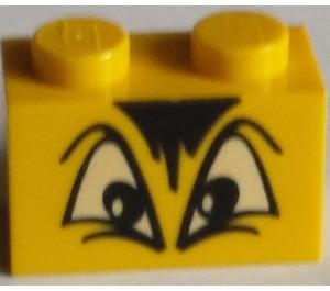LEGO Brick 1 x 2 with Angry Eyes, Black fringe Decoration (3004 / 93792)