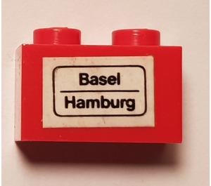 LEGO Brick 1 x 2 with 'Basel - Hamburg' Sticker (3004)