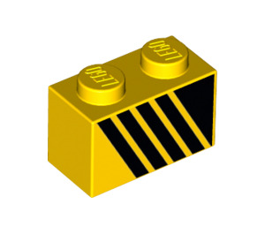 LEGO Brick 1 x 2 with Black diagonal lines right (3004 / 31917)