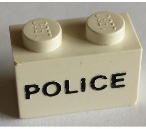 "LEGO Brick 1 x 2 with Black ""POLICE"" Sans-Serif Decoration (3004)"