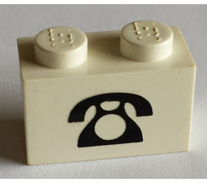 LEGO Brick 1 x 2 with Black Telephone Decoration (3004)