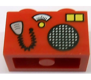 LEGO Brick 1 x 2 with CB Radio and Microphone Pattern (3004)