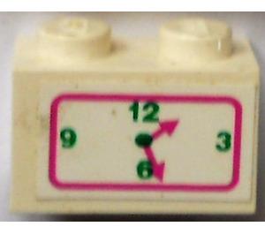 LEGO Brick 1 x 2 with clock Sticker (3004)