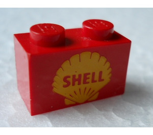 LEGO Brick 1 x 2 with Decoration- Shell logo (older version) (3004)