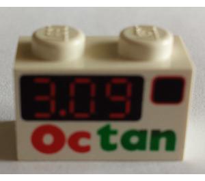 LEGO Brick 1 x 2 with 'Octan' & '3.09' Decoration (3004)