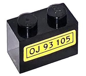 """LEGO Brick 1 x 2 with """"OJ 93 105"""" Sticker (3004)"""
