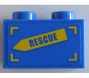 LEGO Brick 1 x 2 with 'RESCUE' on Yellow Arrow (Right) Sticker (3004)