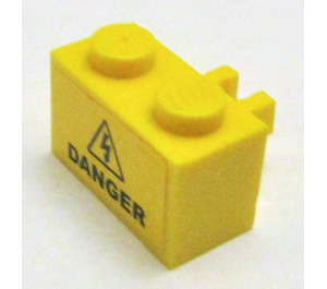 LEGO Brick 1 x 2 with Vertical Clip with 'DANGER' Electricity Sticker (Open 'O' clip) (30237)