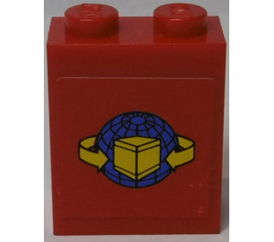 LEGO Brick 1 x 2 x 2 with Yellow Box and Arrows with Blue Globe Sticker (3245)