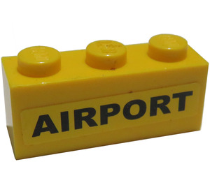 LEGO Brick 1 x 3 with Black 'AIRPORT' Sticker from Set 3182 (3622)