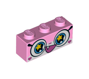 LEGO Brick 1 x 3 with Blue Eyes with Yellow Stars and Open Mouth (Rainbow Unikitty) (3622 / 38899)