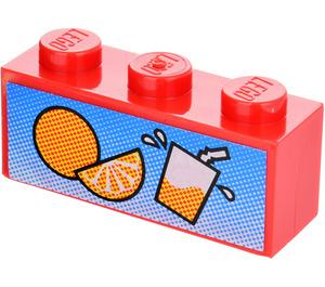 LEGO Brick 1 x 3 with Fruit Drink Sticker (3622)