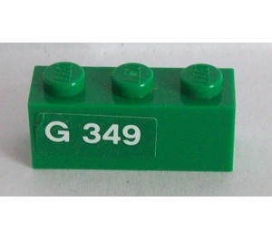 LEGO Brick 1 x 3 with 'G 349' (Left) Sticker (3622)