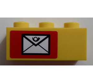LEGO Brick 1 x 3 with Mail Envelope (Left) Sticker (3622)