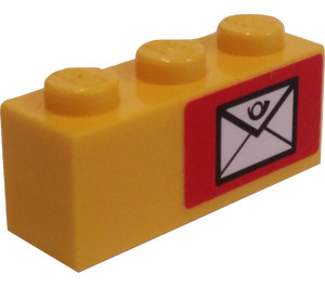 LEGO Brick 1 x 3 with Mail Envelope (Right) Sticker (3622)