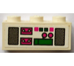 LEGO Brick 1 x 3 with radio, tapes and loudspeakers Sticker (3622)