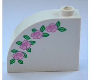 LEGO Brick 1 x 3 x 2 Curved Top with Pink roses green leaves (33243)
