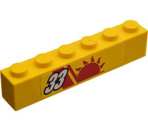 LEGO Brick 1 x 6 with '33' (Right) Sticker (3009)