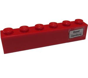LEGO Brick 1 x 6 with 'Basel - Hamburg' on Right Side Sticker (3009)