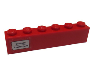 LEGO Brick 1 x 6 with 'Brussell - Amsterdam' on Left Side Sticker (3009)